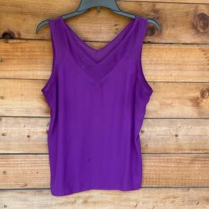 INC Purple sleeveless blouse with chiffon details